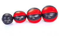 М'яч медичний (медбол) MATSA 3кг (верх-шкіра, наповнювач-пісок, d-18см, червоний-чорний), фото 1