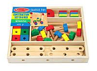 Детский деревянный строительный конструктор в коробке