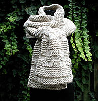 Вязаный длинный шарф ручной работы. Зимний шарф.