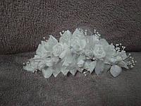 Свадебная веточка для волос белая