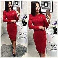 Платье (800) ангора с брошкой, красный меланж
