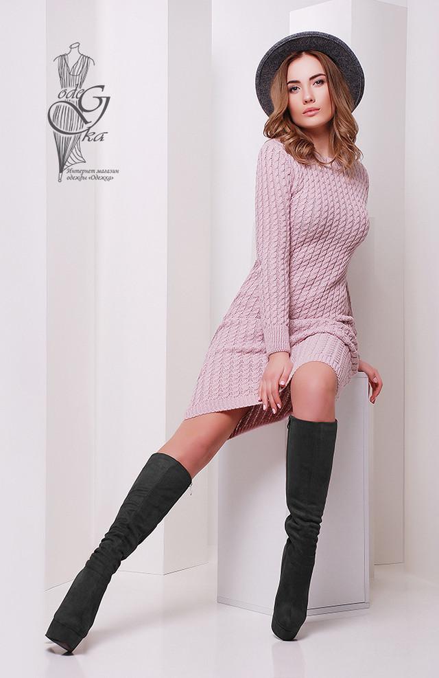 Фото Женского облегающего платья приталенного вязаного Крис-1