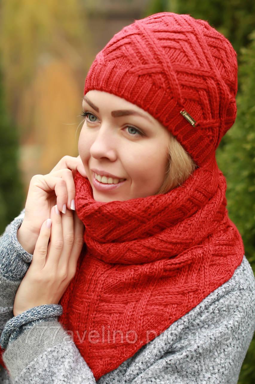 Комплект шапка и шарф красный
