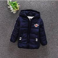 Куртка зимняя детская 1-4 года для мальчиков темно синяя