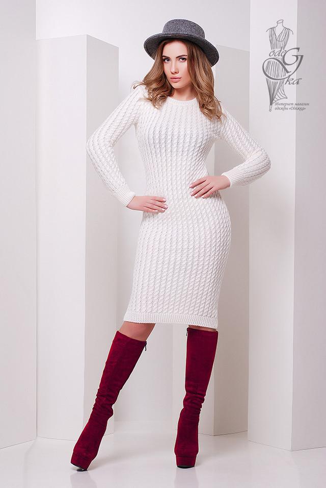 Фото Женского облегающего платья приталенного вязаного Крис-6