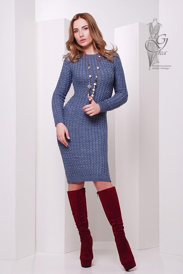 Фото Женского облегающего платья приталенного вязаного Крис-7