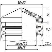 Пластиковая заглушка для профильной трубы 50Х50 мм пирамидка белая