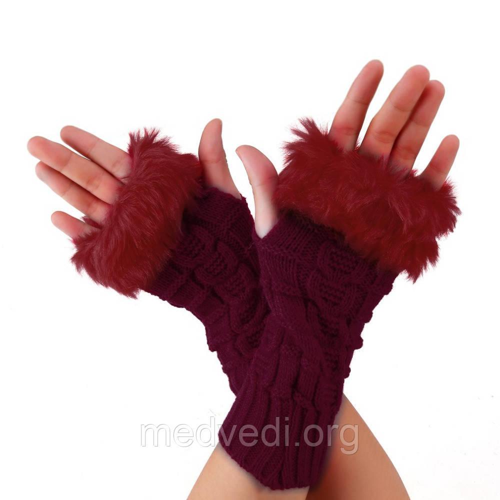 Бордовые вязаные перчатки-митенки с мехом
