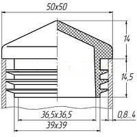 Заглушка 50Х50 мм пластиковая для профильной трубы пирамидка серая