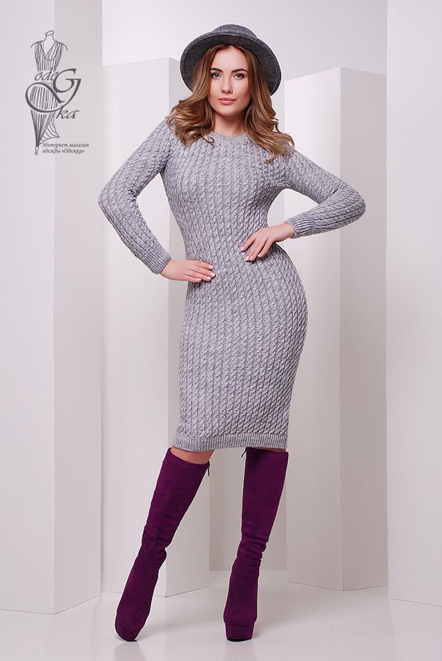 Фото Женского облегающего платья приталенного вязаного Крис-8