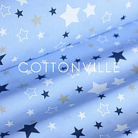 Поплин Звездопад на темно-голубом, фото 1