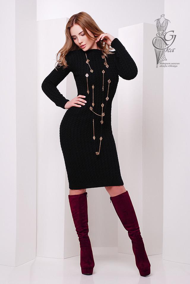 Фото Женского облегающего платья приталенного вязаного Крис-10