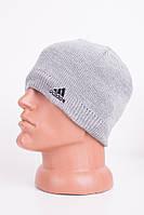 """Светло-серая мужская шапка с надписью """" Adidas"""""""