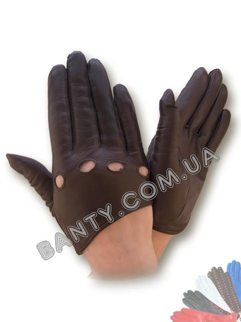 Женские кожаные перчатки без подкладки Модель 317