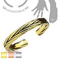 Безразмерное кольцо на фалангу с орнаментом колосок желтое золото