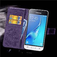 Чехол Clover для Samsung Galaxy J1 2016 J120 J120H книжка кожа PU Purple
