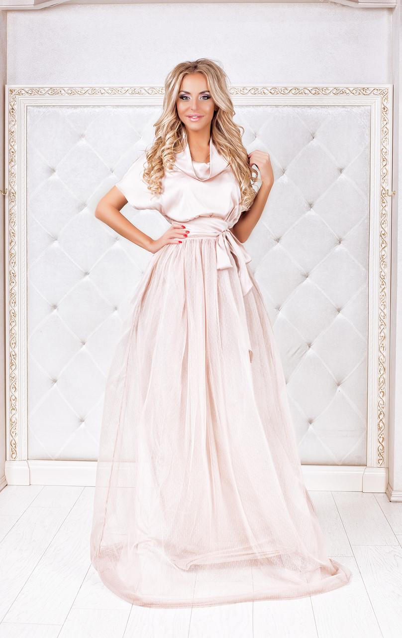 be994226ce8 Платье шелковое в пол на фатине бежевое - Одежда для настоящих модниц в  Харькове