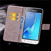 Чехол Clover для Samsung Galaxy J1 2016 J120 J120H книжка кожа PU Gray