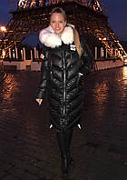 Длинная женская куртка с мехом