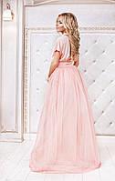 Платье шелковое в пол на фатине персиковое