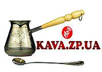 Турка медная чеканная Лань 430 мл (максимальный объем 500 мл) + ложка для турки