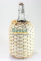"""Бутылка стеклянная 2,0л """"Венеция"""" с бугельной пробкой оплетенная кукурузой"""