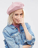 Модный женский шерстяной берет пудрового розового цвета