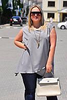 Женская блузка-туника с неровным подолом БАТАЛ, фото 1