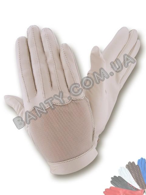 Женские кожаные перчатки без подкладки Модель 398