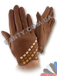 Женские кожаные перчатки без подкладки Модель 436