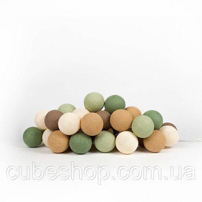 """Тайская LED-гирлянда """"Forest green"""" (20 шариков) на батарейках"""