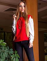 Модная Блуза Красная+Белые Длинные Рукава р. S M L XL