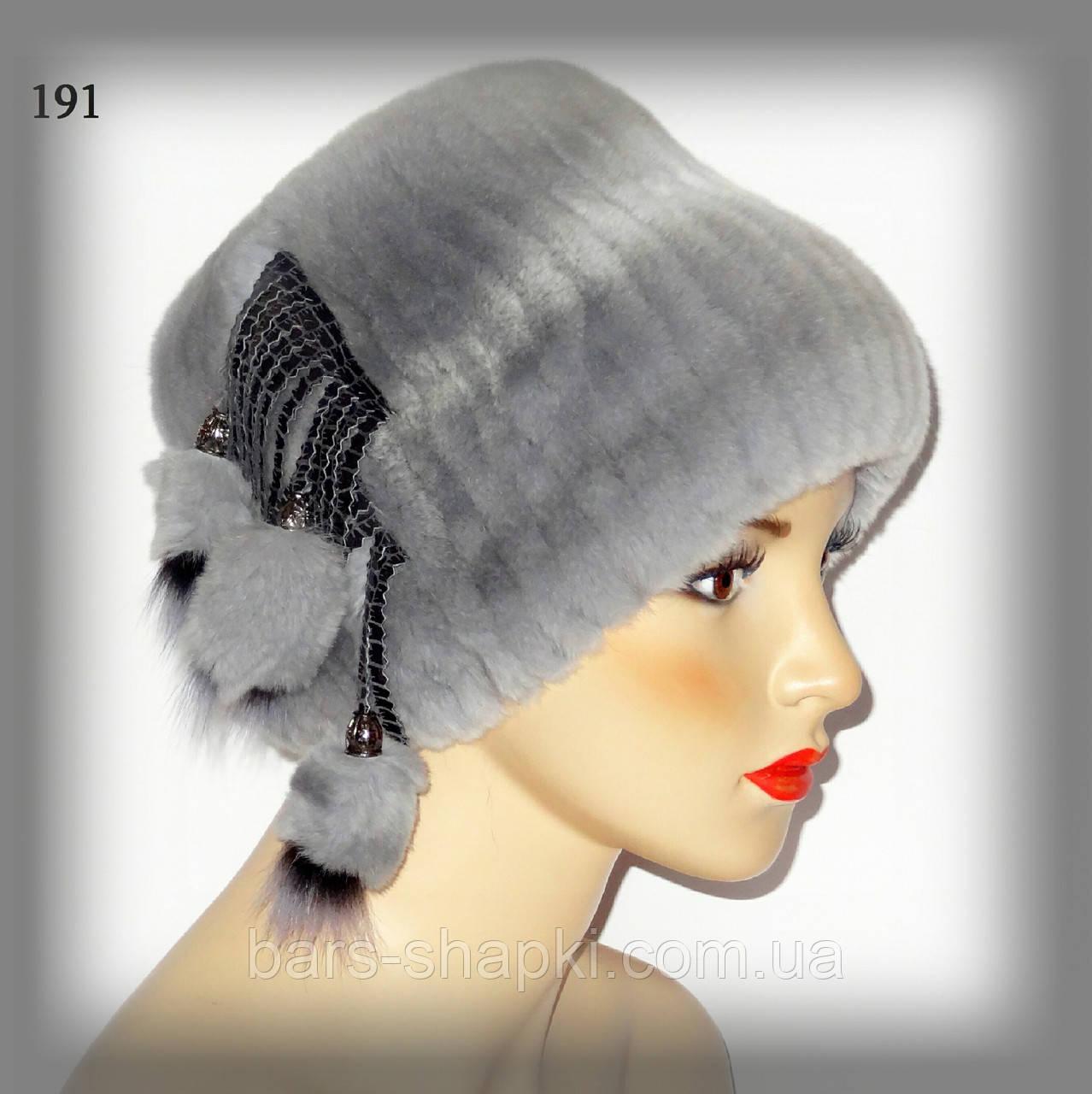 Меховая шапочка из кролика-шиншилы (кубанка голубая)