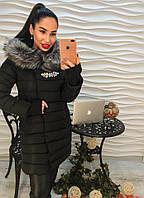 Пальто женское с красивой съемной брошью черное