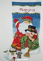 """Набор для вышивания крестом 08714 """"Санта и снеговик. Чулок"""" DIMENSIONS"""