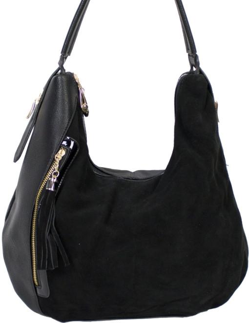 7efce82a65bd Женская сумка из натуральной замши чёрного цвета - Интернет-магазин  стильных сумок