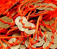 Связка 3 монеты под бронзу с красной лентой (1,2 см)
