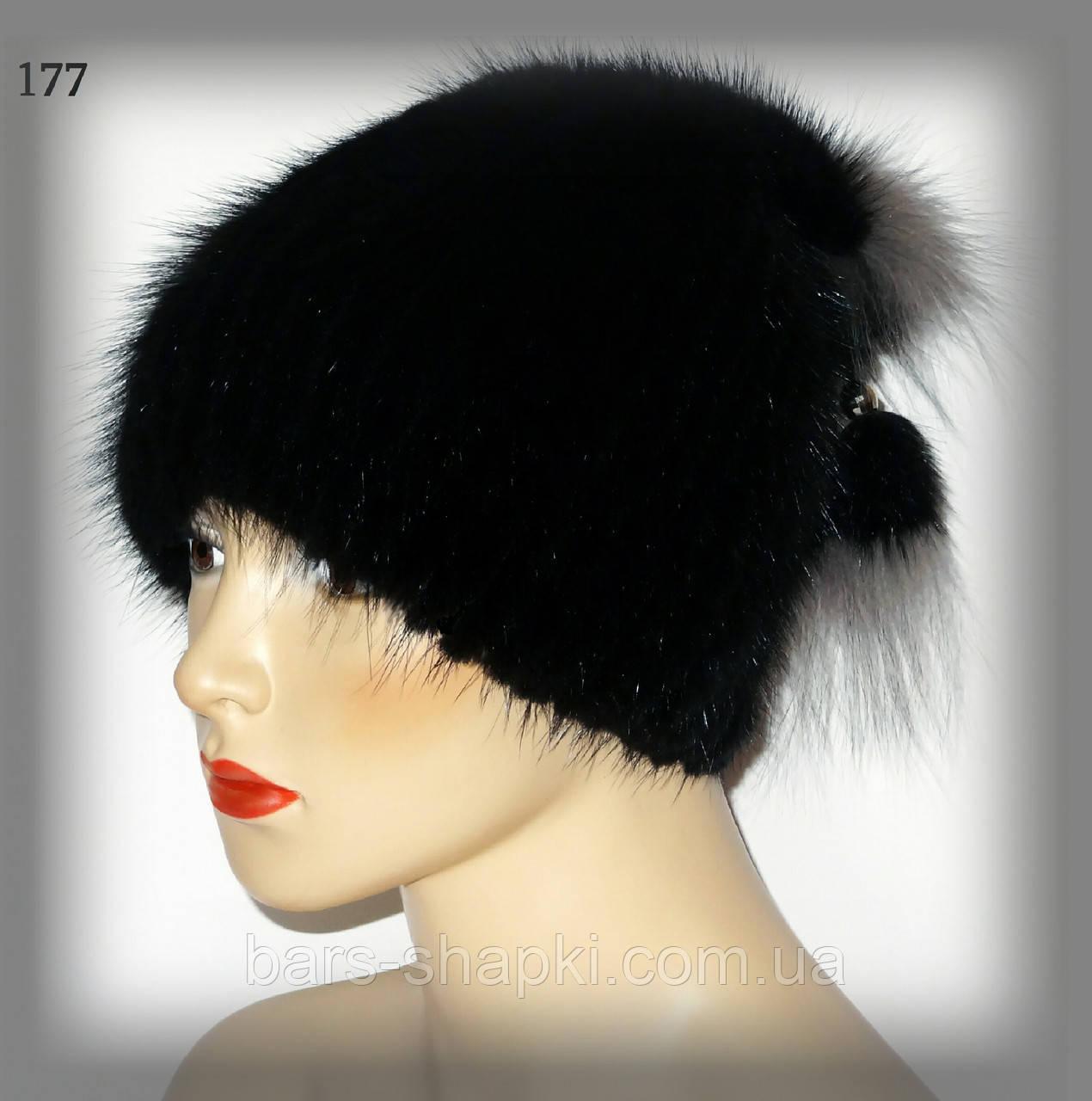 Меховая шапка из ондатры с отделкой из чернобурки