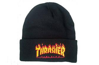 Зимова шапка чорна з логотипом Thrasher в стилі унісекс чоловіча жіноча