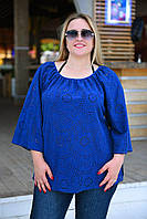 Женская блузка с прорезной вышивкой БАТАЛ, фото 1