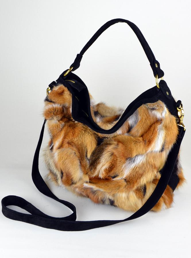 Большая сумка из меха лисы