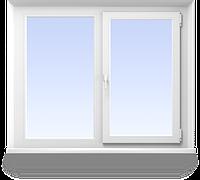 Металлопластиковое двухстворчастое окно 1350х1100 Open teck