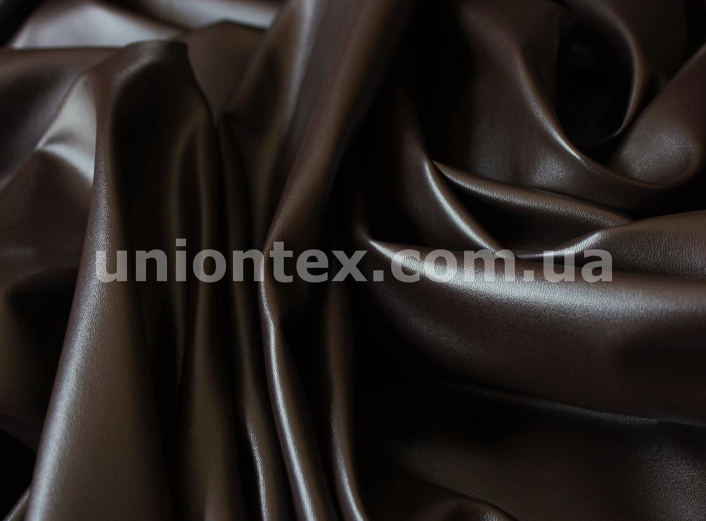 Искусственная стрейч кожа темно-коричневая