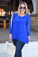 Женская блузка с разрезами на рукавах БАТАЛ, фото 1