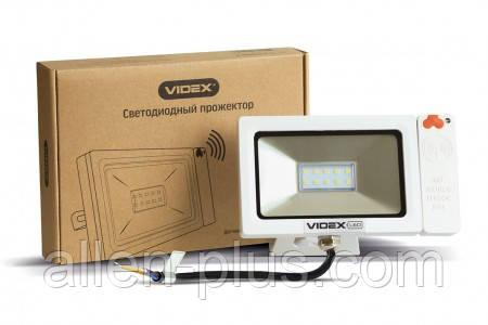 LED прожектор VIDEX Slim Sensor 10W 5000K 220V White (с регулируемым датчиком движения и освещенности)