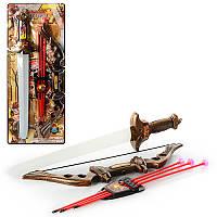 Детский Набор оружия 531-1B17, меч 56см, лук, стрелы-присоски 3шт, колчан, на листе, 25-63-5см