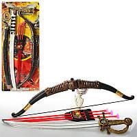 Детский Набор оружия 541-1B1-B2, лук, стрелы-присоски 3шт, меч, мишень, 2 вида, на листе, 25-63-4см
