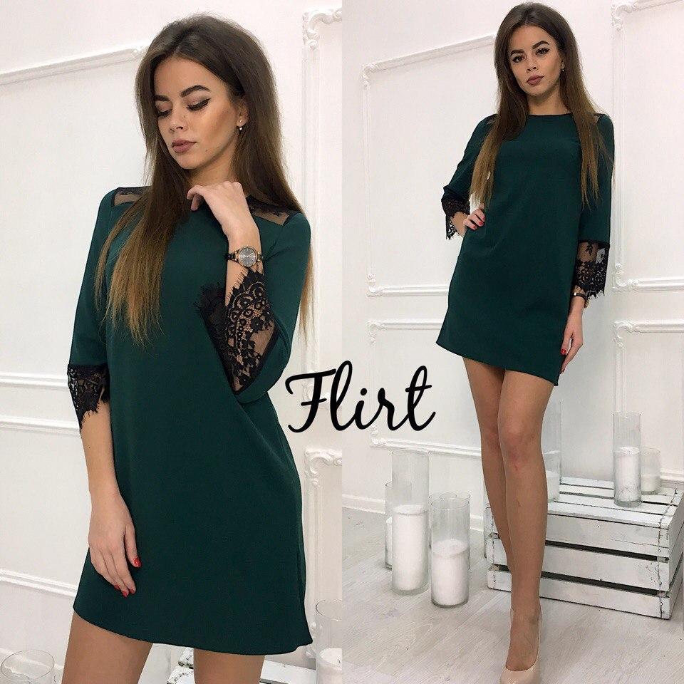 44919e9f829 Платье красивое свободного кроя с кружевом мини креп-дайвинг 5 цветов  SMfL1923 - Shoppingood в