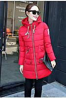 Красная тёплая зимняя куртка 3D визуальный эффект с манжетом съёмный капюшон Замеры в описании!