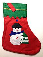 Новогодний носок сапог для подарков из снеговиком
